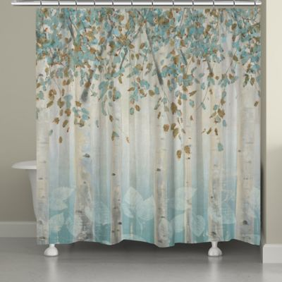 blue and gray shower curtain. Laural Home  Dream Forest Shower Curtain in Grey Blue Buy and Curtains from Bed Bath Beyond