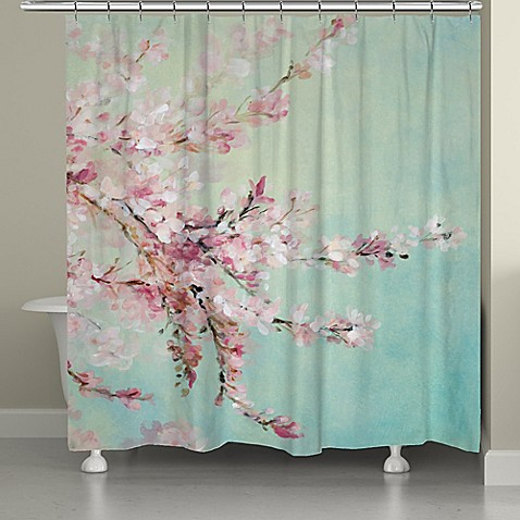 Laural Home 174 Cherry Blossoms Shower Curtain In Blue Pink