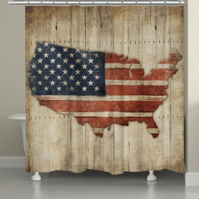 Laural HomeR Wooden Flag Shower Curtain