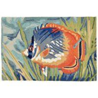 Trans-Ocean Ravella Tropical Fish Ocean 2-Foot x 3-Foot Indoor/Outdoor Accent Rug in Blue