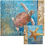 Beneath The Sea 12-Inch x 15-Inch Glass Cutting Board with Trivet Set
