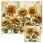 Tuscan Sunflower 12-Inch x 15-Inch Glass Cutting Board with Trivet Set