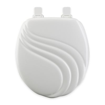 white wooden toilet seat. Mayfair Round Swirl Molded Wood Toilet Seat in White with Easy Clean  Change Hinge Buy Seats from Bed Bath Beyond