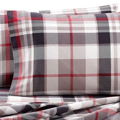 the seasons collection heavyweight flannel plaid full sheet set in red