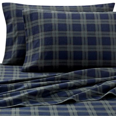 the seasons collection heavyweight flannel plaid full sheet set in blackwatch