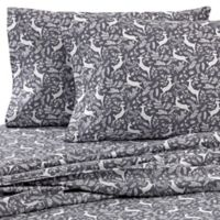 The Seasons Collection® Heavyweight Flannel Reindeer Standard Pillowcases in Grey (Set of 2)