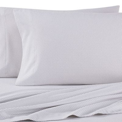 the seasons collection heavyweight flannel dot twin sheet set in grey - Queen Sheet Sets