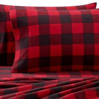 The Seasons Collection® Heavyweight Flannel Buffalo Plaid Twin Sheet Set in Red
