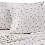 The Seasons Collection® Heavyweight Flannel Snowflake Queen Sheet Set in Taupe/White