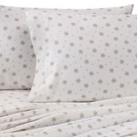 The Seasons Collection® Heavyweight Flannel Snowflake King Sheet Set in Taupe/White