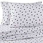 The Seasons Collection® Heavyweight Flannel Snowflake King Sheet Set in Navy/White