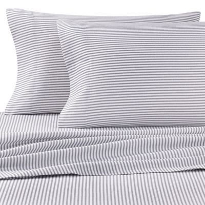 the seasons collection heavyweight flannel stripe king sheet set in grey