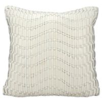 Mina Victory Wavy Basket Weave Pillow in Ivory