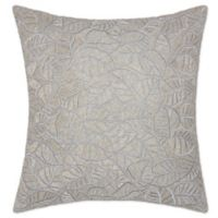 Mina Victory Luminescence Beaded Leaves Square Throw Pillow in Silver