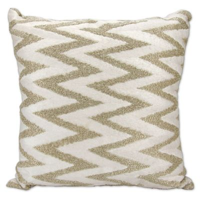 mina victory beaded chevron pillow in silver