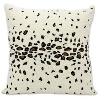 Mina Victory Beaded Leopard Pillow in Ivory