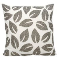 Michael Amini Beaded Leaves Square Throw Pillow in Pewter
