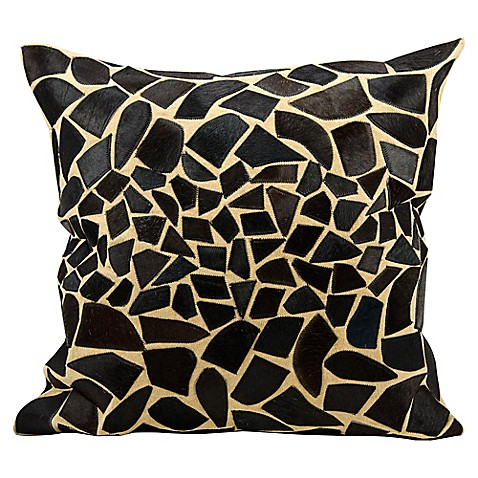 Buy Mina Victory Natural Leather Hide Giraffe Decorative 24-Inch Square Throw Pillow in Black ...
