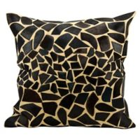 Mina Victory Natural Leather Hide Giraffe Decorative 20-Inch Square Throw Pillow in Black