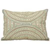 Mina Victory Dallas Beaded Aztec Oblong Throw Pillow in Ivory
