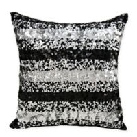 Michael Amini Sequin Stripe Throw Pillow in Black