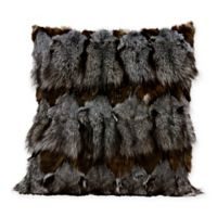Mina Victory Couture Square Fox Fur Throw Pillow in Dark Grey