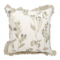 Mina Victory Couture Whimsical Floral Throw Pillow in Ivory