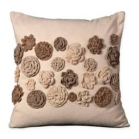 Mina Victory Felt Rosettes Square Throw Pillow in Beige
