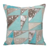Mina Victory Dallas Triangles Square Throw Pillow in Grey/Silver