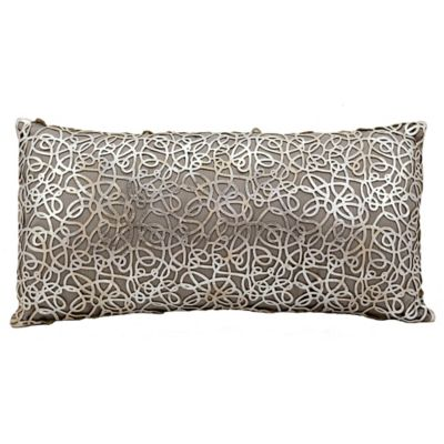 Mina Victory Couture Natural Hide Pinko Lasercut Throw Pillow In Silver