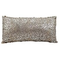 Mina Victory Couture Natural Hide Lasercut Throw Pillow In Silver