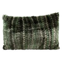 Mina Victory Fur Green Stripe Oblong Throw Pillow
