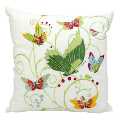 Kathy Ireland Home By Gorham Butterflies Square Throw Pillow