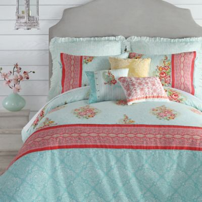 jessica simpson ellie reversible king comforter set in blue - Turquoise Bedding