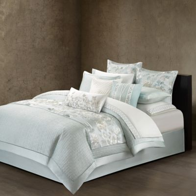 Natori Canton Queen Duvet Cover In Light Aqua
