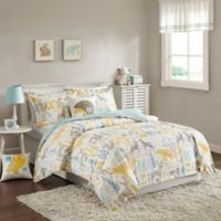 INK+IVY Woodland Twin Duvet Cover Set in Aqua