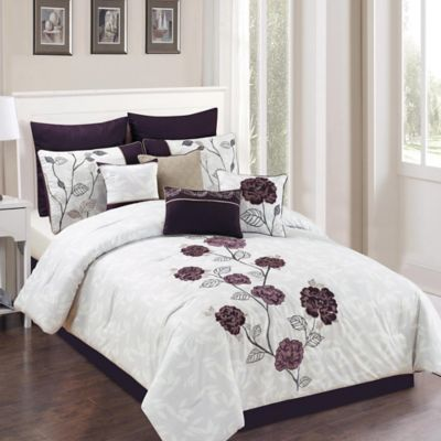 Beautiful Abigail 10 Piece Queen Comforter Set In Plum/Grey