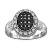 Sterling Silver .50 cttw Black and White Diamond Size 6 Ladies' Pave Oval Halo Ring