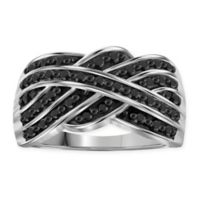 Sterling Silver .50 cttw Black Diamond Size 6 Ladies' Crossover Weave Ring
