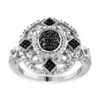 Sterling Silver .33 Black and White Diamond Size 6 Ladies' Round Diamond Detail Pave Ring