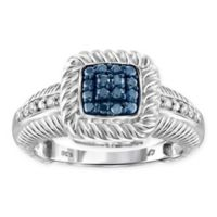 Sterling Silver .25 cttw Blue and White Diamond Square Size 8 Ladies' Ring