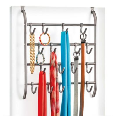 Over The Door Metal Hanging Hook Rack Accessory Organizer In Platinum