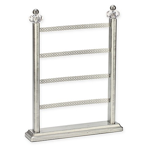 4 tier earring organizer in antique silver bed bath beyond for Bathroom jewelry holder