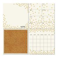 WallPops!® Dry-Erase Calendar/Weekly Planner/Notes Board/Cork Board Set in White/Gold Confetti