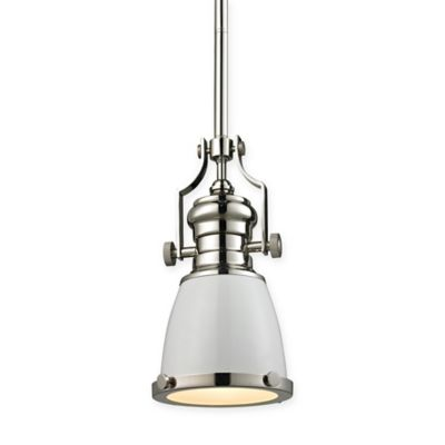 Elk Lighting 8-Inch 1-Light Pendant Light in Polished Nickel with White  Glass