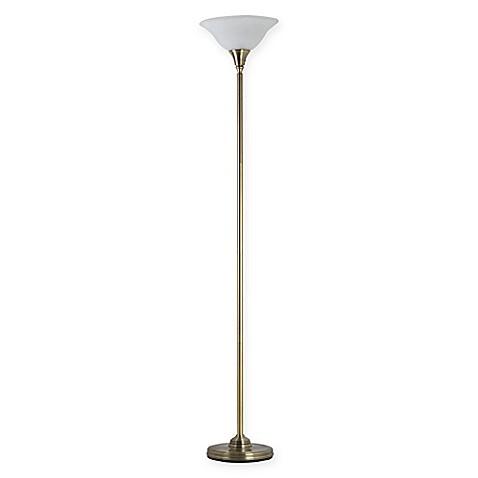 Adessor julian torchiere floor lamp with alabaster glass for Torchiere floor lamp bed bath and beyond