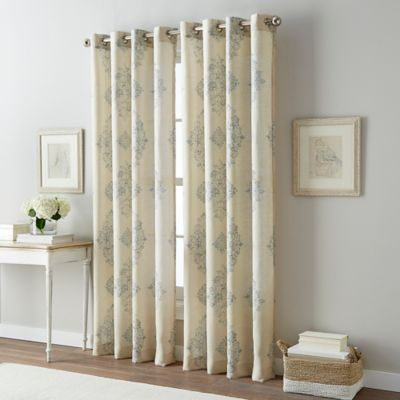 Bailey Damask 63 Inch Grommet Top Window Curtain Panel in Blue. Buy 63 in Grommet Top Curtains from Bed Bath   Beyond