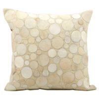 Mina Victory Natural Leather Hide Circles 20-Inch Square Throw Pillow in Beige