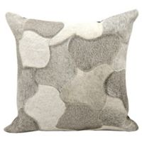 Mina Victory Natural Leather Hide Jigsaw Puzzle Square Throw Pillow in Silver