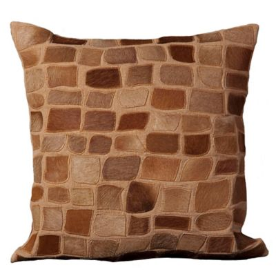 mina victory natural leather hide pebbles square throw pillow in amber